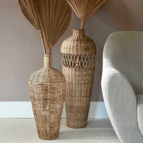 Rustic Rattan Weave Vase