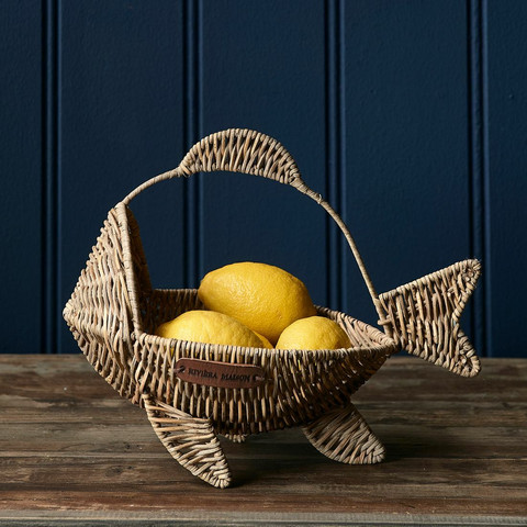 Rustic Rattan Happy Fish Basket