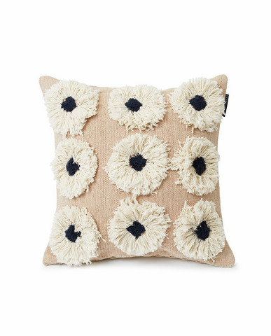 Rug Flower Recycled Cotton Can beige 50 x 50 cm