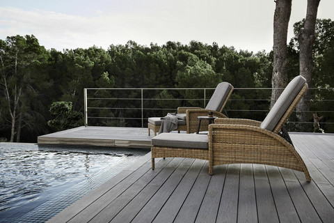 Outdoor Chair Verona with Pouf Brown