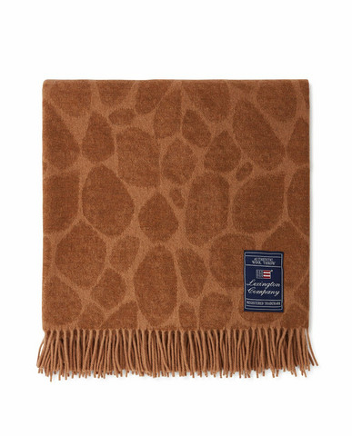 Graphic Recycled Wool Mix Throw 130x170 Tumma beige