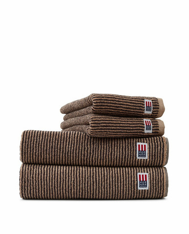 Original Towel Tan-Dark Gray Stripe