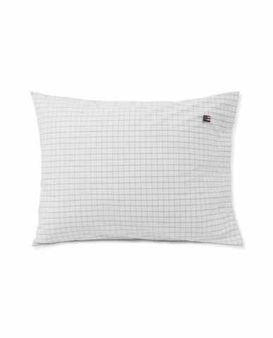 Checked Cotton Poplin Pillowcase 50x60 White-Dark grey