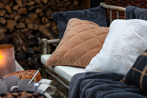 Quilted Cotton Velvet Pillow Cover 50x50 Tumma beige