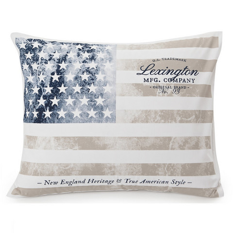 Vintage Flag Printed White/grey Pillowcase