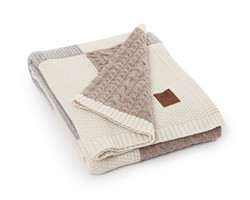 Knitted Patch Throw beige/multicolor 130x170