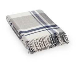 Classic Checked Wool Throw 130x170 Beige-grey