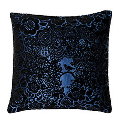 Blackbird Cushion Black - Blue 45x45