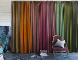 Velvet curtain set rosa 135x280