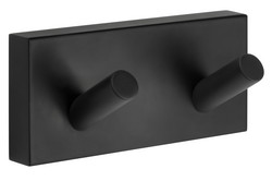 House Double Towel Hook Black