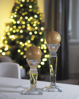 Glitter Ball Candle 10cm Gold