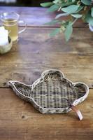 Rustic Rattan Teapot Mini Tray