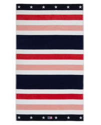 Multi Striped Velour Beach Towel 100x180 Red