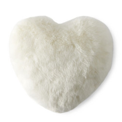 Arctic Fox Faux Fur Heart Pillow