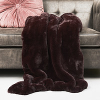 Boutique Burgundy FauxFur Throw 150x130