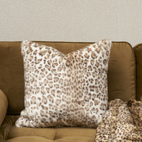 Snow Leopard Faux Fur Pillow Cover 50x50