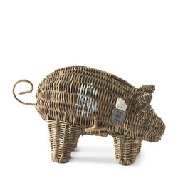 Rustic Rattan Piggy Money Saver