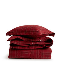 Holiday Checked Flannel Bedding Set, Red