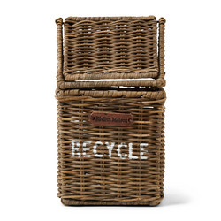 Rustic Rattan Recycle Mini Bin