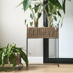 Rustic Rattan Planter High