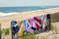 Graphic Cotton Velour Beach Towel, Pink/White