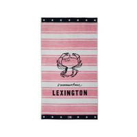 Graphic Cotton Velour Beach Towel, Pink/White