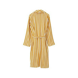 Striped Cotton-Mix Terry Robe, Yellow/White M