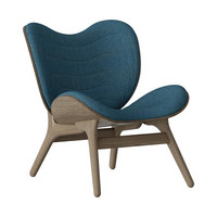 Conversation Piece Armchair Dark oak - Petrol blue