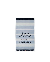 Graphic Cotton Velour Beach Towel Light blue-White