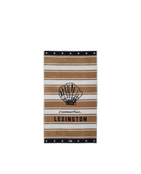 Graphic Cotton Velour Beach Towel Beige-White
