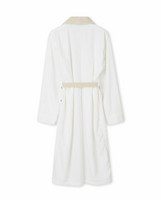 Lexington Cotton Velour Contrast Robe Beige-white