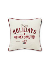 Happy Holidays Cotton Velvet Pillow Cover