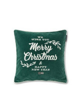 Merry Christmas Cotton Velvet Pillow Cover Green
