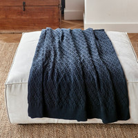 RM Knitted Cable Throw 180x130 blue