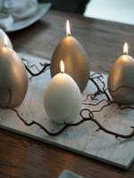 Velvet egg candle M  Sandshell