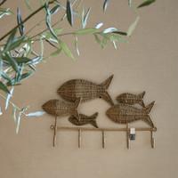 Rustic Rattan Happy Fish Coat Rack
