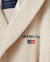 Striped Organic Cotton-Mix Hoodie Robe, White/Tan