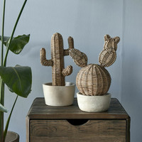 Rustic Rattan Desert Cactus