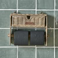 Rustic Rattan Toilet Roll Organiser
