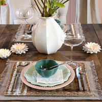 Rustic Rattan With Love Placemat
