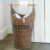 Rustic Rattan Toilettes Basket