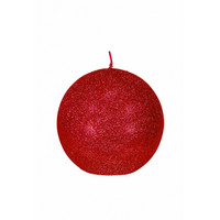Glitter Ball Candle 10cm red