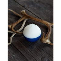 Velvet Ball Candle 10cm sininen/valkoinen