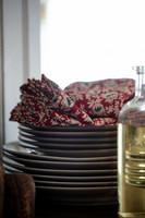 Printed Organic Cotton Twill Napkin, Red/Beige/Green