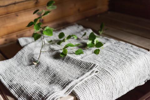 Pellava vohveli kylpypyyhe - pieni
