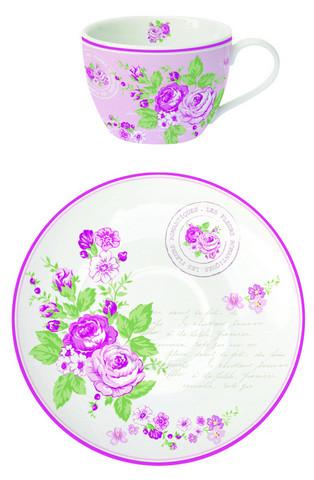 Ruususarja, kahvikuppi+ lautanen
