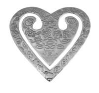 Hopeinen sydän kirjanmerkki