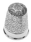 Hopeinen Carrs STC023 sormustin kukkakuviolla