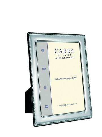Carrs FR078/W  25x20 hopeinen valokuvakehys helmireunalla