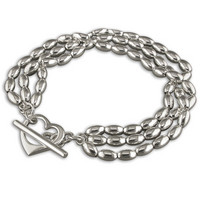 Sac Silverin hopeinen R6980 sydän ranneketju